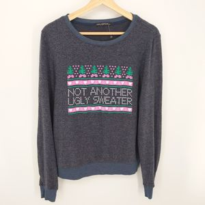 Wildfox Navy Not Another Ugly Sweater Crewneck XS